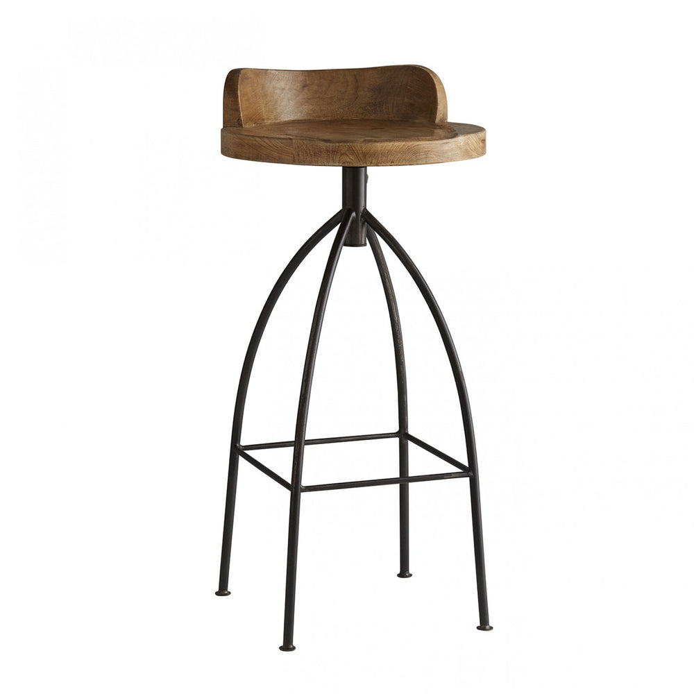 Rustic marries industrial with this tall natural iron barstool with swivel wood seat in natural wax finish for counters/bars.