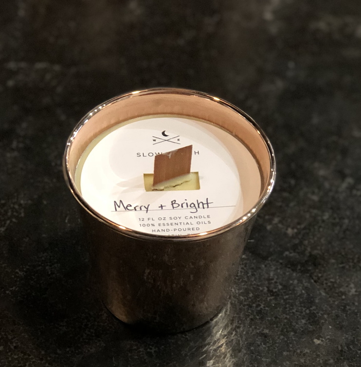 Copper Wooden Wick Candle- Merry and Bright