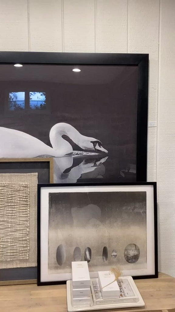 "Gliding quietly along the river, this framed view of the swan is captured beautifully in this Gliding Swan Art.  Size: 56""w x 43""h Medium: Matte"