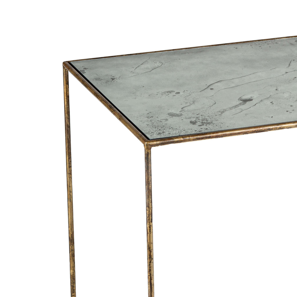 "The distressed painted finish of this Mirage Side Table gives any room a classy look. Complete the look with the Mirage Console or Cocktail Table.  Size: 24""w x 24""d x 28""h  Material: Steel"