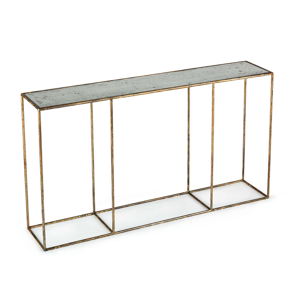 "The distressed painted finish of this Mirage Large Console Table gives any room a classy look. Complete the look with the Mirage Side Table or Cocktail Table.   Size: 54""w x 11""d x 30""h  Material: Steel"