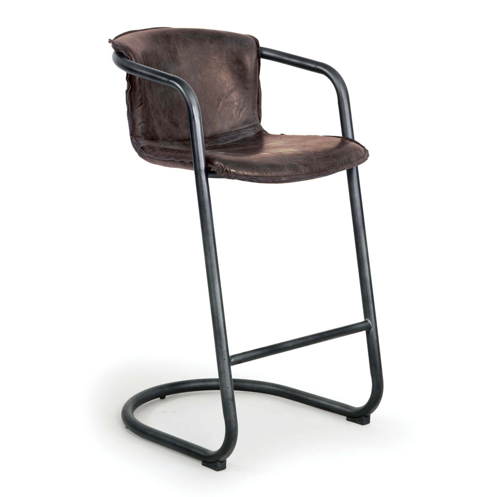 Axl Distressed Leather Bar Stool - Amethyst Home