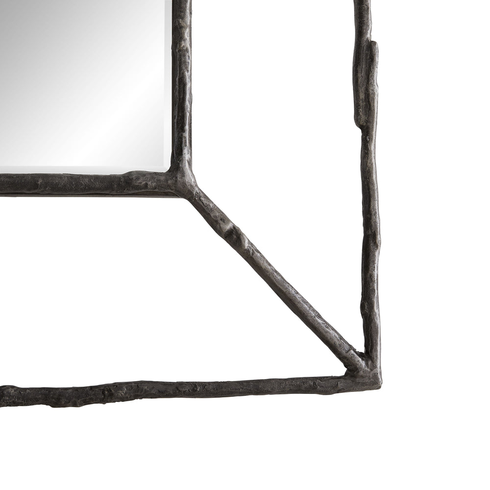 "This Edgewood Natural Iron Mirror draws inspiration from the living world, with its twig-like cast iron mirror creating the same sense of wonderment in a space. The rustic yet refined nod to nature frames a beveled glass mirror in an open form, adding a polished quality to its organic structure. Versatile, this piece works well in a variety of settings. Security cleat hanging hardware allows for horizontal or vertical display. Finish may vary.  Size: 2"" d x 33"" w x 52"" h  Material: Iron, Mirror"