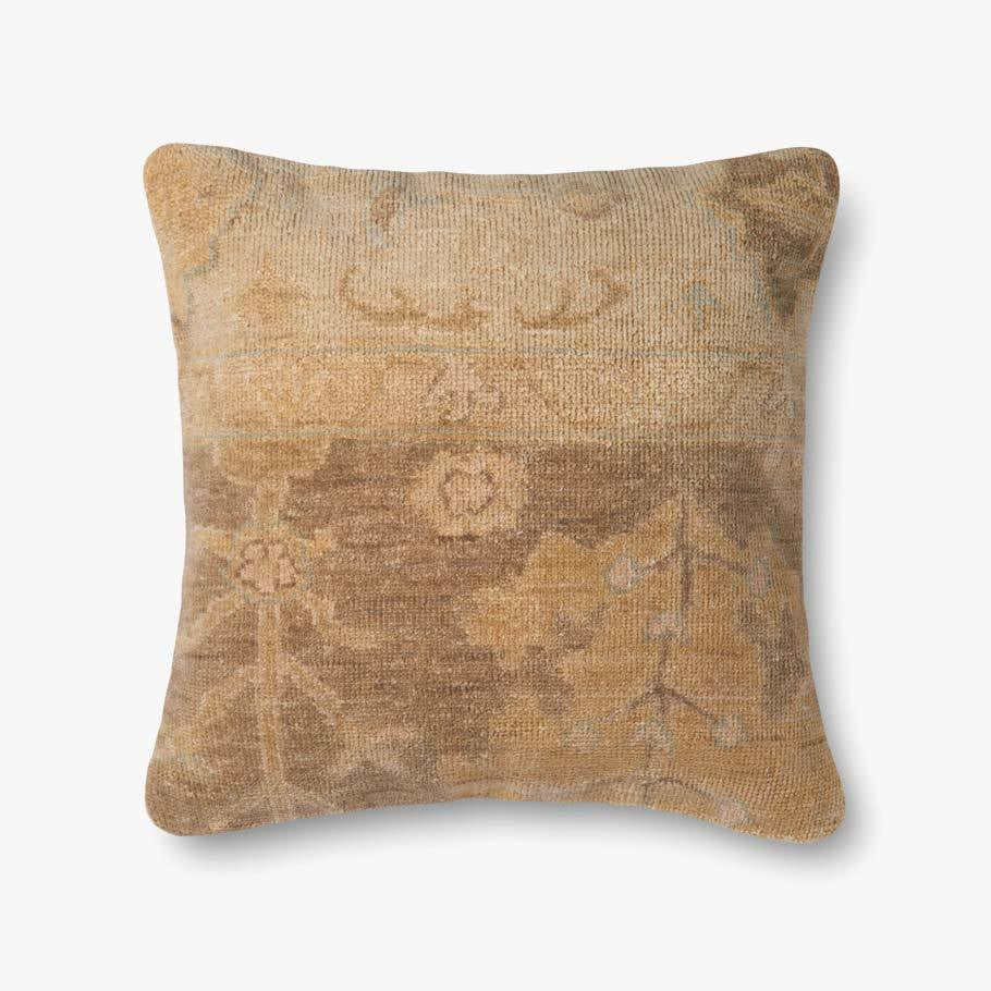 "Hand-knotted wool pillow goodness with a soft, down fill insert. Snuggle and curl up with this pillow on a sofa, in bed, or daybed!  Size: 22""w x 22""h  P4038 ED Brown / Beige"