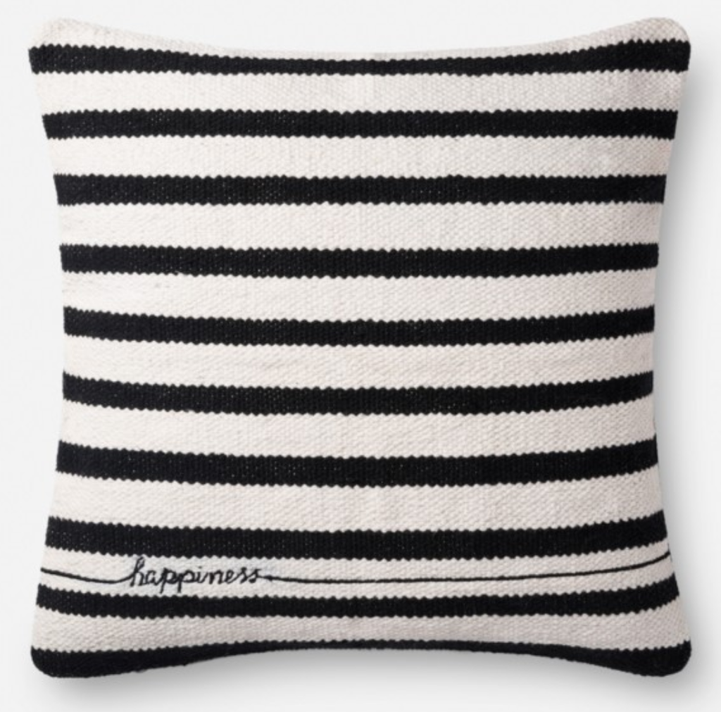 Black & White Stripe Pillow 22x22