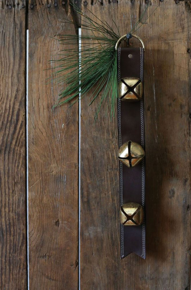 Chocolate Leather Sleigh Bell Door Hanger