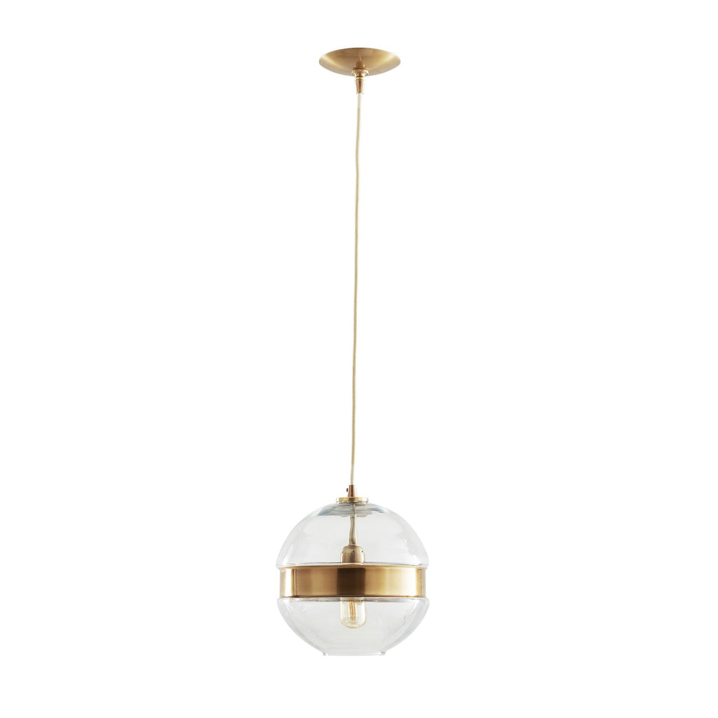 Molded clear glass sphere pendant cinched with an antique brass belt. Shown with Medium Clear Tubular Bulb.