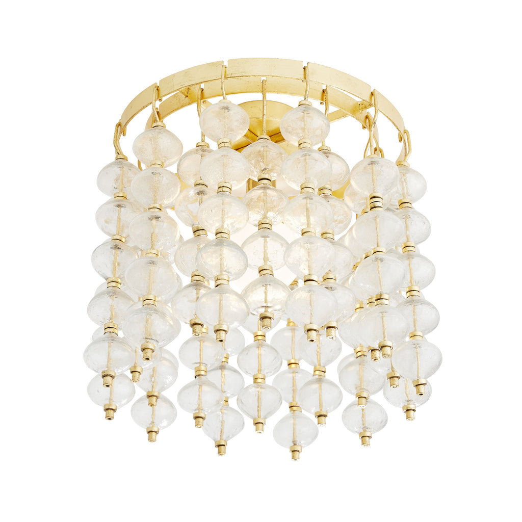 "Smaller spaces shouldn't be restricted from fine lighting. Taking a cue from Venetian style, the Florence Gold Leaf Flushmount was inspired by vintage murano glass fixtures. The artistic design features clear seedy glass beads that dangle from, and on, an iron framefinished in gold leaf. A single bulb is nestled in the center of the bijou-esque pieces, highlighting the intricacies when in use. Finish may vary. Damp-rated, although limited covered outdoor conditions may affect finish.  Size: 14.5""d x 15.5""h"