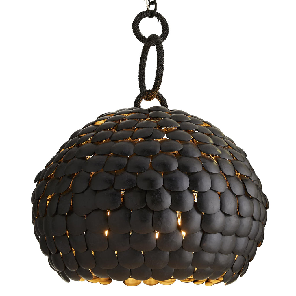 Drawing inspiration from the beauty in natural materials, this pendant is a muse for organic design. Blending the rich textures of strung coconut shells with the modern silhouette, this light fixture exudes an exotic, yet botanical look. Each shell is dyed in rich black, individually cut and hand-strung onto a wire frame. It's finished with wide hoop links that are wrapped in smaller coconut beads, dyed to complement the shade.