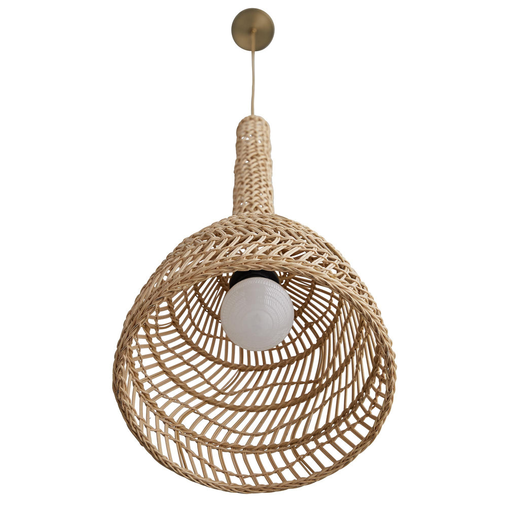 Both organic and modern in feel, this piece shows off naturally good looks in a slender form from a taupe cloth cord. To get the layered design, craftsmen first hand-forge the metal frame to its unique drop shape. Then, they take double strands of natural wicker and weave the neck and dome designs; the first is a free-form open-weave and the latter has a wavy pattern. Imagine several in line above an island or clustered as a brilliant entryway light.