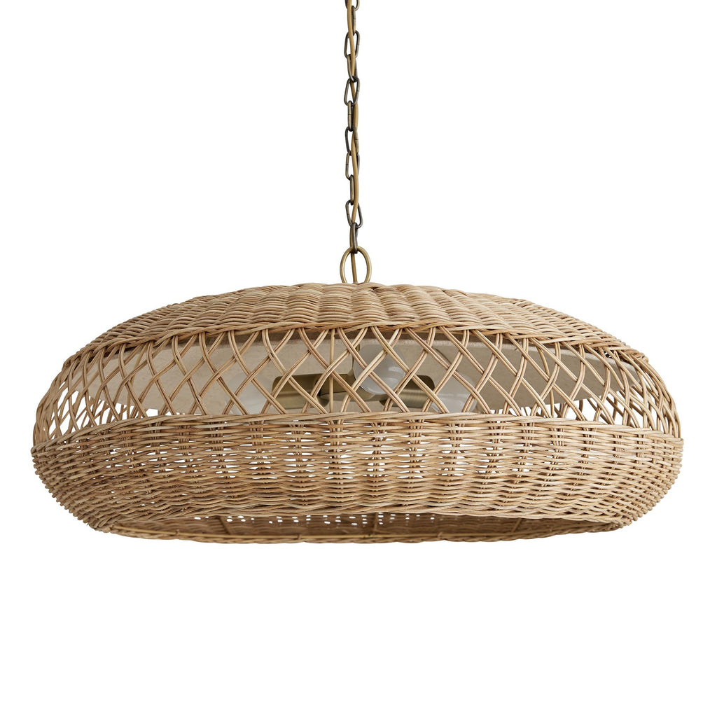 Organic yet modern, this piece shows off naturally good looks in a mid-century saucer shape. To get the layered design, craftsmen first hand-forge the metal frame to its unique shape. Then, they take double strands of natural wicker and weave the designs by hand, including the criss-cross detail which helps offer more light in a space. The finished piece features iron accents in an antique brass finish. Imagine several in line above an island or a bar.