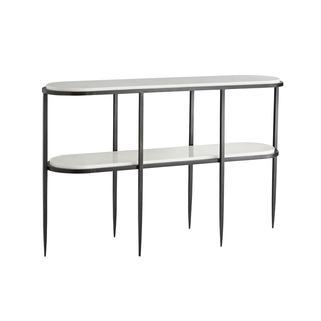 Clean lines and a simple silhouette defines the Elton White Console Table. Two thick, white marble platforms are stylishly showcased on an iron foundation. The base has been forged by hand—a skill requiring precise craftsmanship—and is finished in bronze. Each of its six legs tapers, adding a delicate and airy element to its polished aesthetic. The additional shelf creates extra storage to showcase objets d'art and makes it the perfect multifunctional piece. Finish and marble may vary.