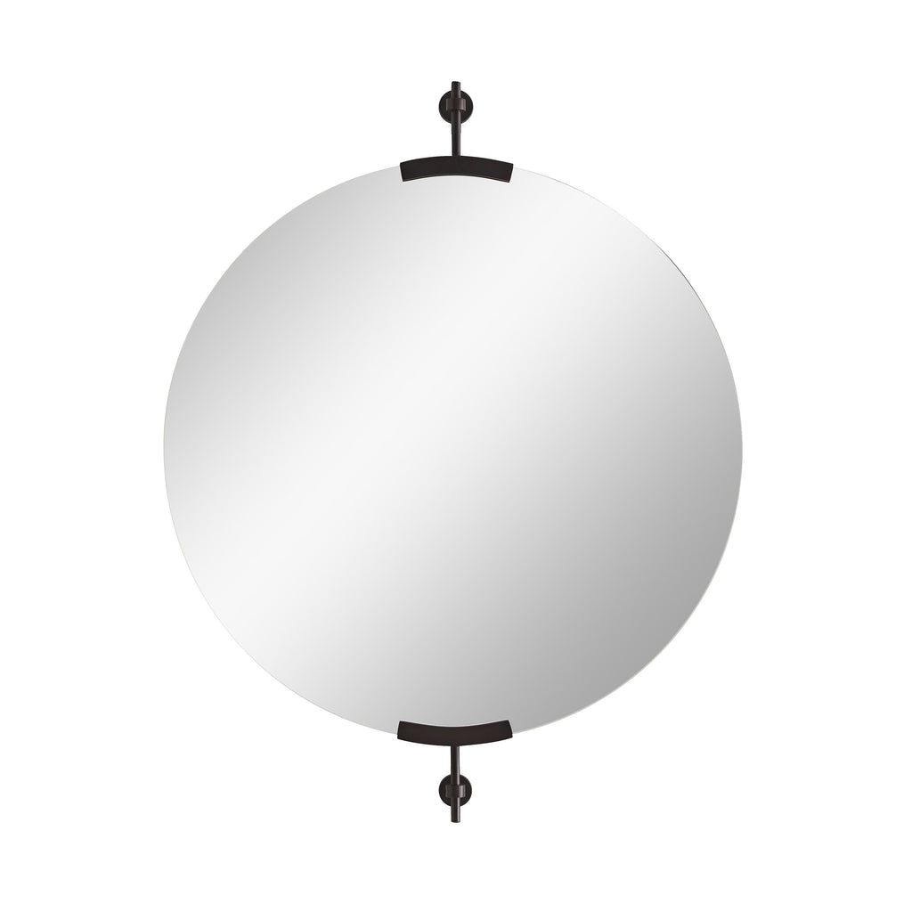"The Madden Round Mirror is held by two bronze brackets, bringing a sleek look to any room. We love that it can hang both horizontally or vertically.   Size: 30""w x 3""d x 38.5h Material: Iron, Mirror"