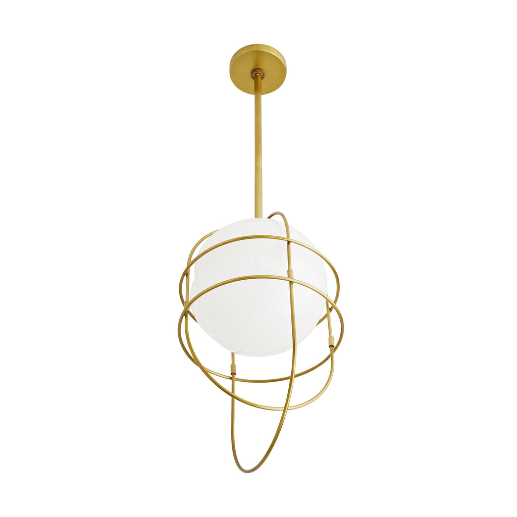 "Modern lighting meets abstract art with the Dolores Pendant. Interconnecting lines of antique brass steel drape over an opal glass orb in an exaggerated fashion to create the foundation of this artistic luminaire. The neatly concealed light imparts a contemporary element on this piece, while providing a glow. A functional focal point when fixed over a kitchen island.  Damp-rated, although limited covered outdoor conditions may affect finish.  Size: 11"" d x 22"" h"