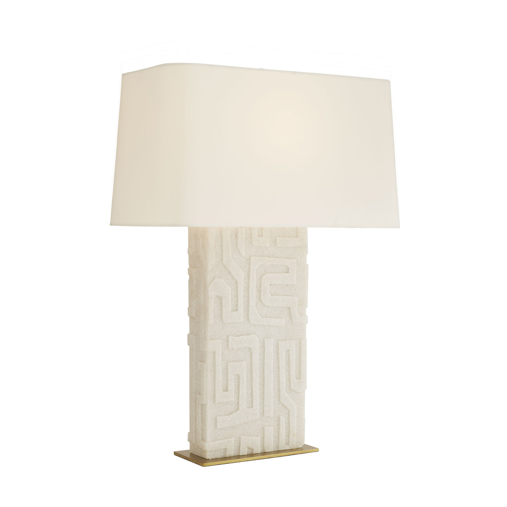 "From lifestyle to luxe, the Edwards White Rice Stone Lamp features a graphically distinctive pattern that was inspired by African Kuba cloths. Its incredibly textured façade is crafted from a white ricestone, which is elegantly presented on a thin steel antique brassbase. Topped with a rectangular ivory microfiber drum shade with white cotton lining. Complete with a taupe cloth cord. Finish may vary.  Size: 9.5""d x 18""w x 27""h"
