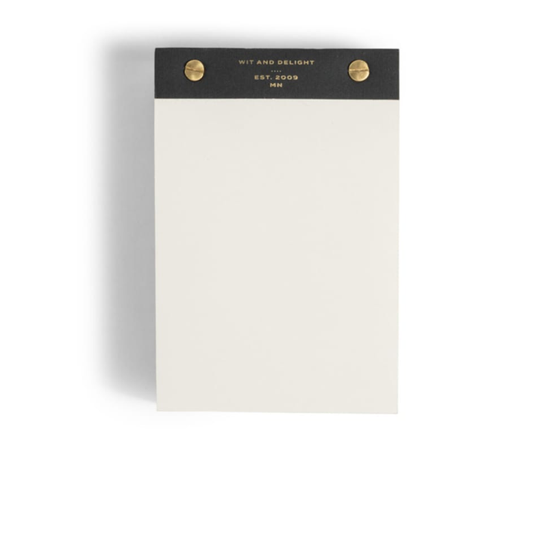 Extra Thick Notepad with Brass Accents - Black