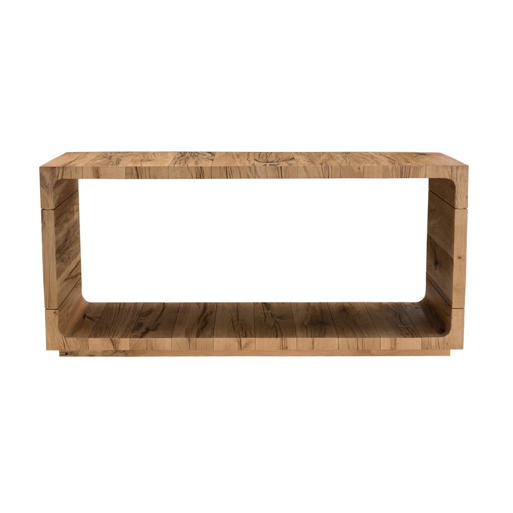 "The Soho Console Table easily attracts the eye with its beautiful oak wood grain and graceful shape. An open frame design gives the table a light feel and allows for discreet storage. Hand finished, the surface texture and color variation in the wood elevate the style of this piece and will do the same for any space.  Size: 63""w X 18""d X 30""h Materials: Reclaimed Russian Oak Wood"