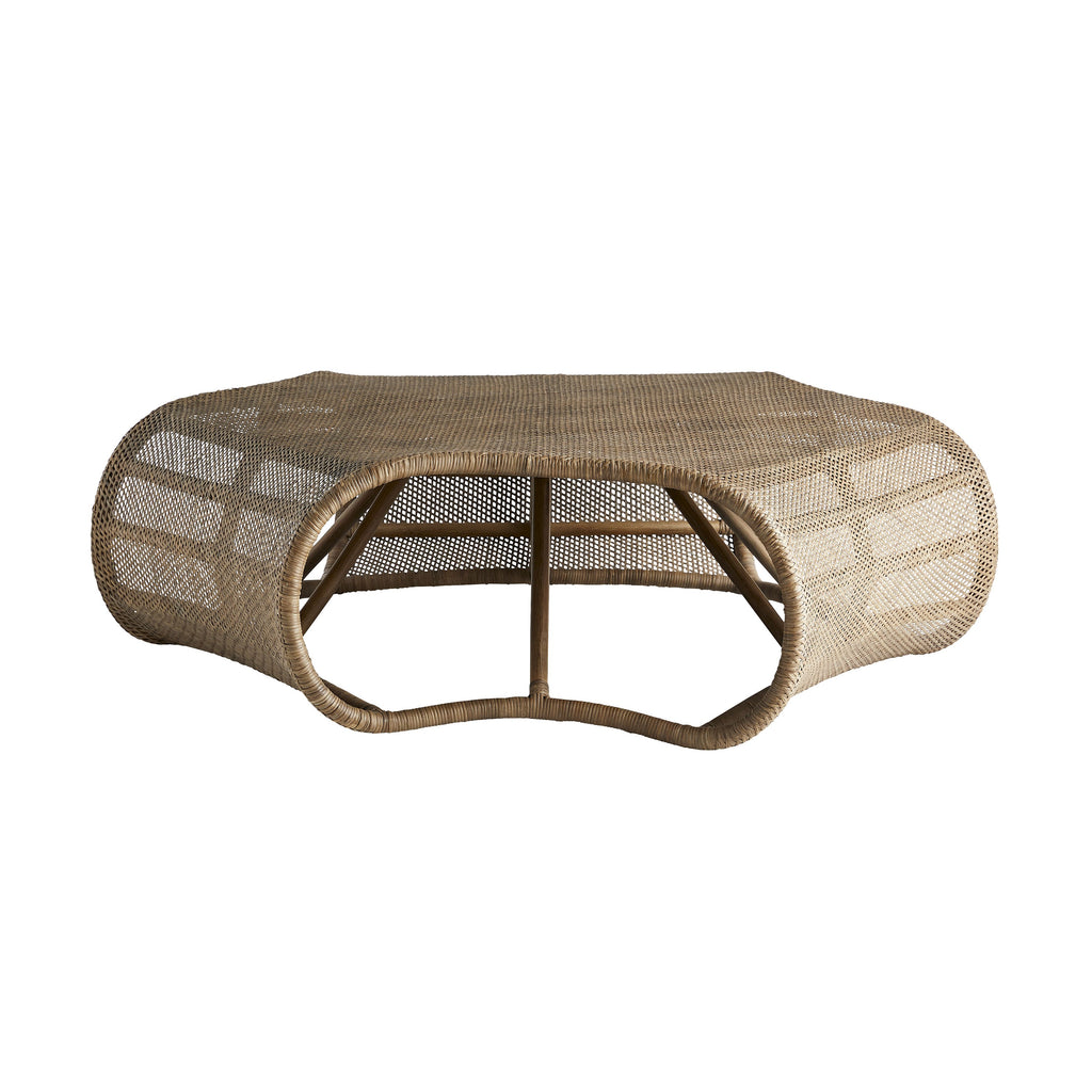 "We love the unique hex shape and traditional rattan of this Eliza Tobacco Wash Coffee Table  Size: 32""d x 30.5""h Material: Rattan"
