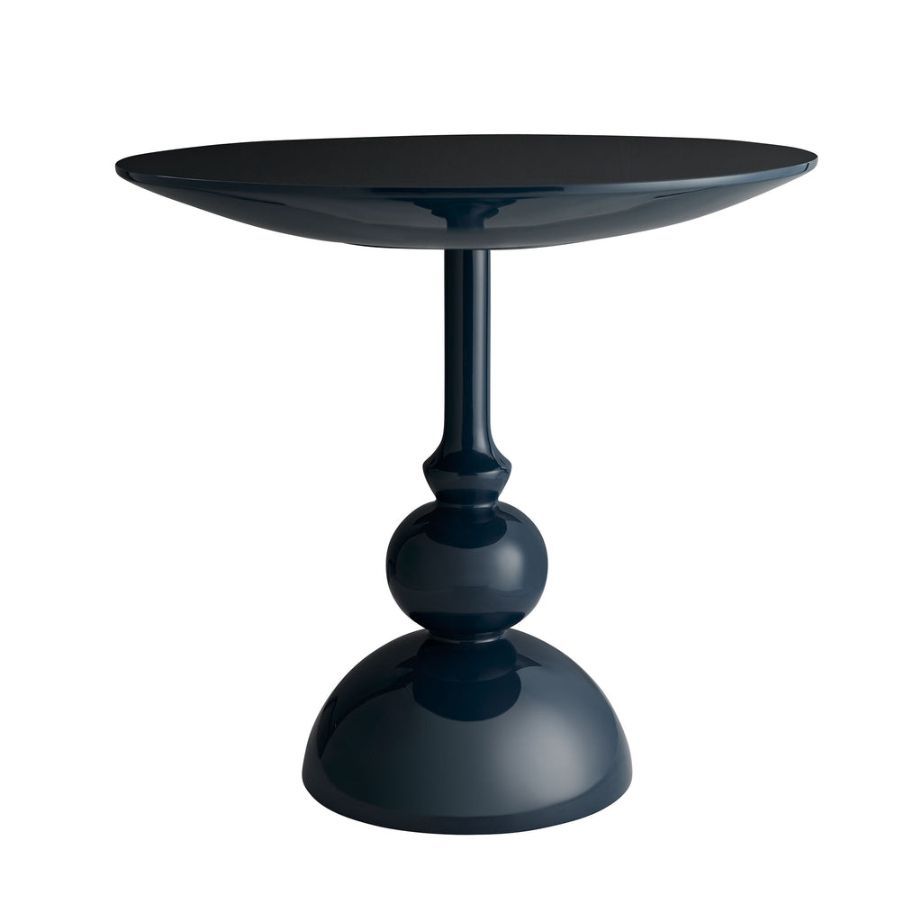 "Sleek and shiny, this Fannin Navy Entry Table brings a contemporary feel to any room. The unique shape and color brings any hallway or entry way to life  Size: 32""d x 30.5""h Material: Lacquer"