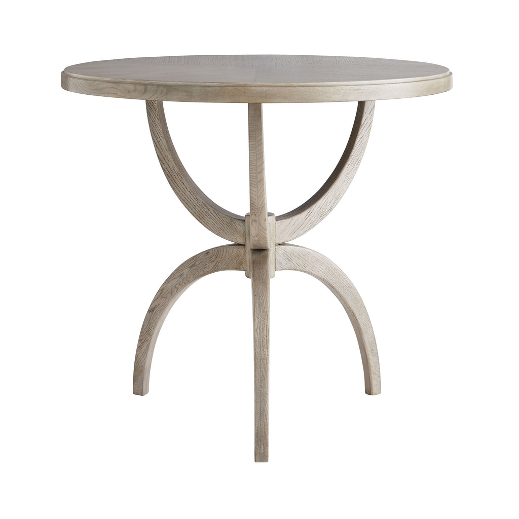 "The Dorey Smoke End Table is made of solid oak and has a unique base that brings an elegant feel to any room  Size: 28""d x 26""h Material: Oak"