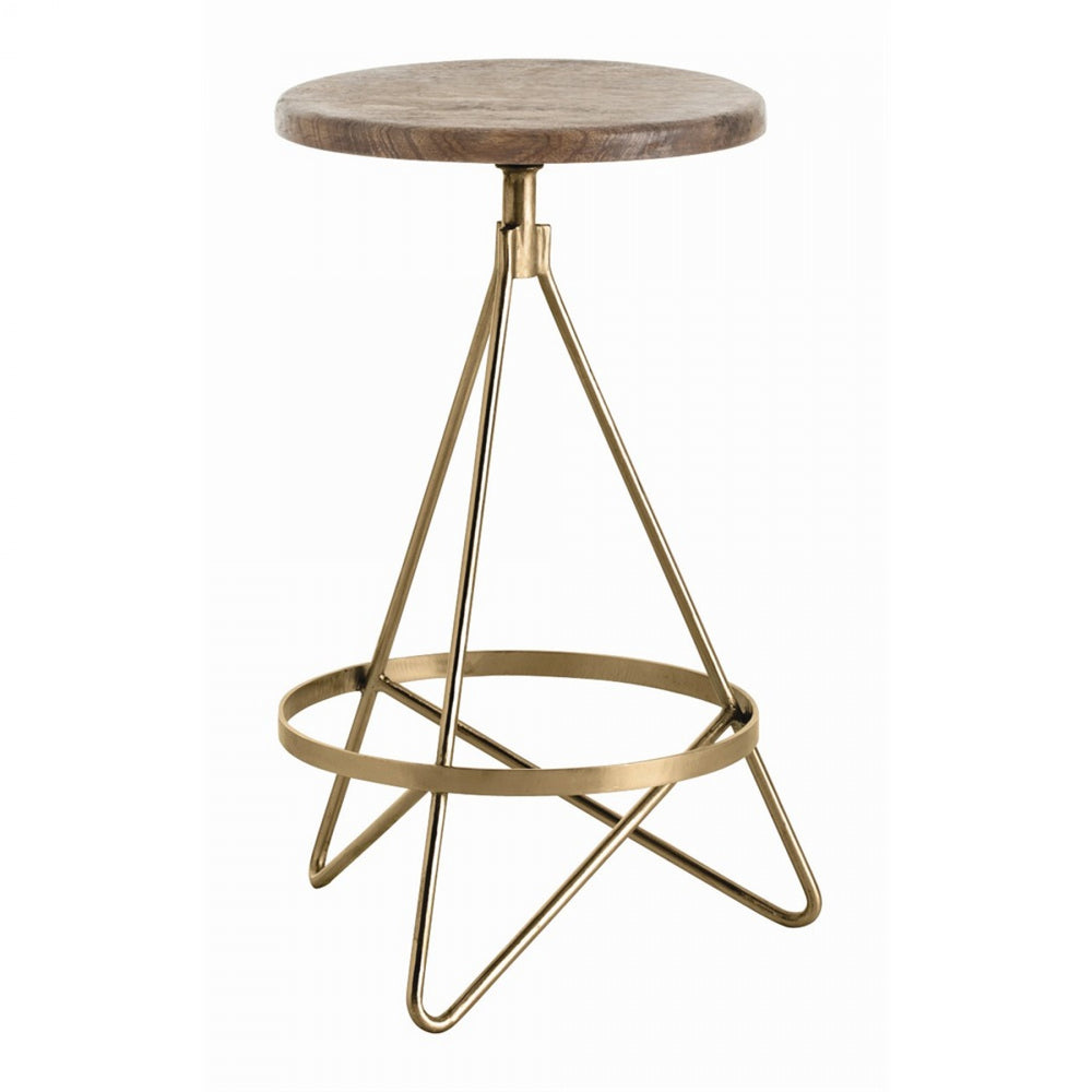 Counter stool with tube shaped triangular iron legs in vintage brass finish with round wooden swivel seat in distressed wax finish.