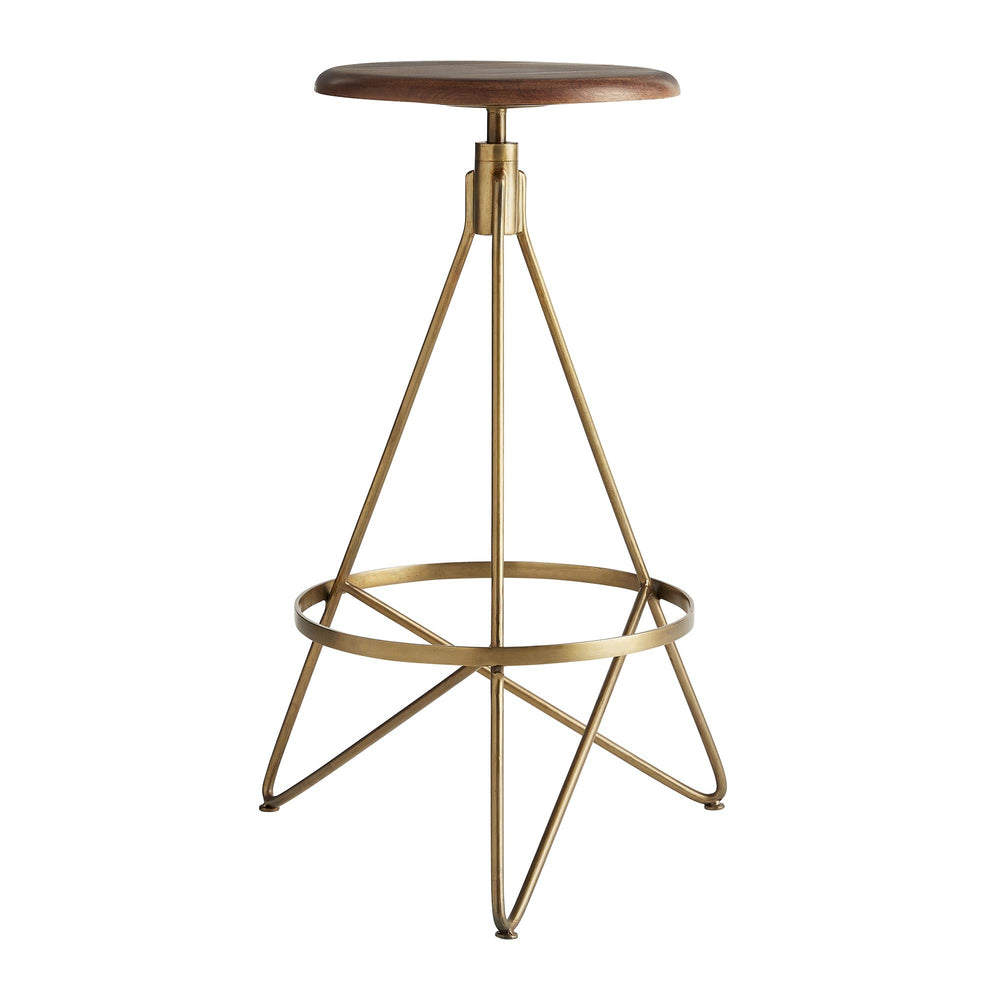 Bar height stool with tube shaped triangular iron legs in vintage brass finish with round wooden swivel seat in distressed wax finish.
