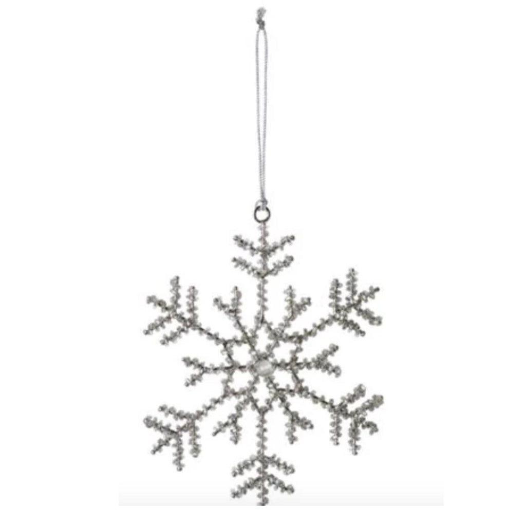 "6"" Beaded Snowflake Ornament - Style 2"