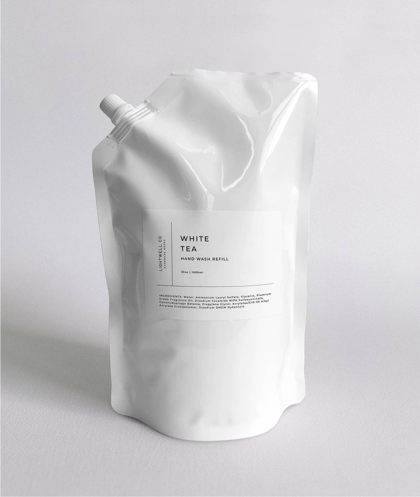 We love the White Tea Hand Wash Refills now available. You can pair this with your re-used glass bottle dispenser and help create less waste. These bags are 33 oz and will refill two 16 oz soap bottles.  33 oz 1000 ml