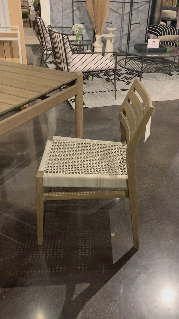 "This Audra Dining Chair is made from eucalyptus with a gorgeous woven rope seat. The slatted, arched back gives us all the mid-century vibes.  Overall Dimensions: 19.75""w x 22.50""d x 32.75""h"