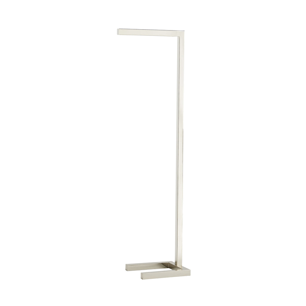 Sleek and simple in form and aesthetic, this Salford Polished Nickel Floor Lamp exemplifies ultra-modern style. It's built of steel to give it clean lines, perfectly angular joints and a shiny polish; the completely linear frame allows it to tuck neatly into a reading chairor sofa to reduce its footprint in the room. An LED strip is nicely concealed into the frame. To give the modern look a bit of a twist, it is entirely finished in polished nickel. Fitted with a full range dimmer on a black cord.  Size: 10