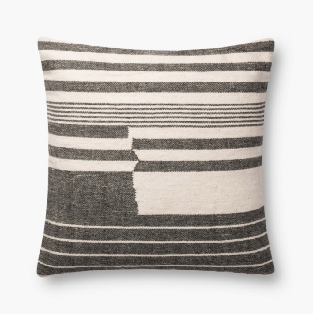 Charcoal Striped Pillow 22x22
