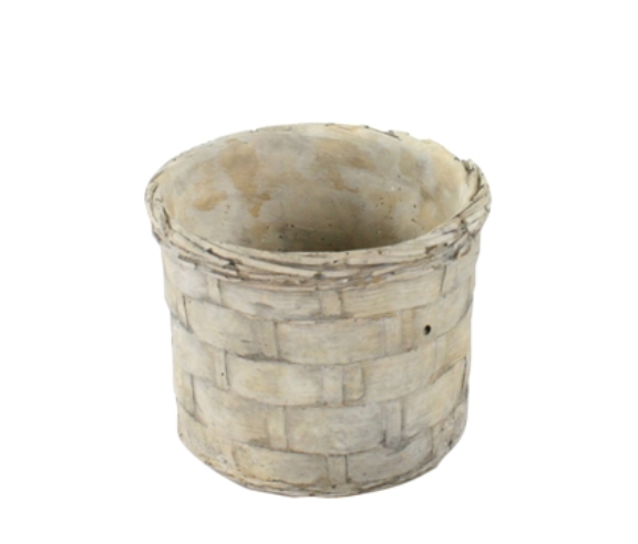 Cement Basket Pot - Small