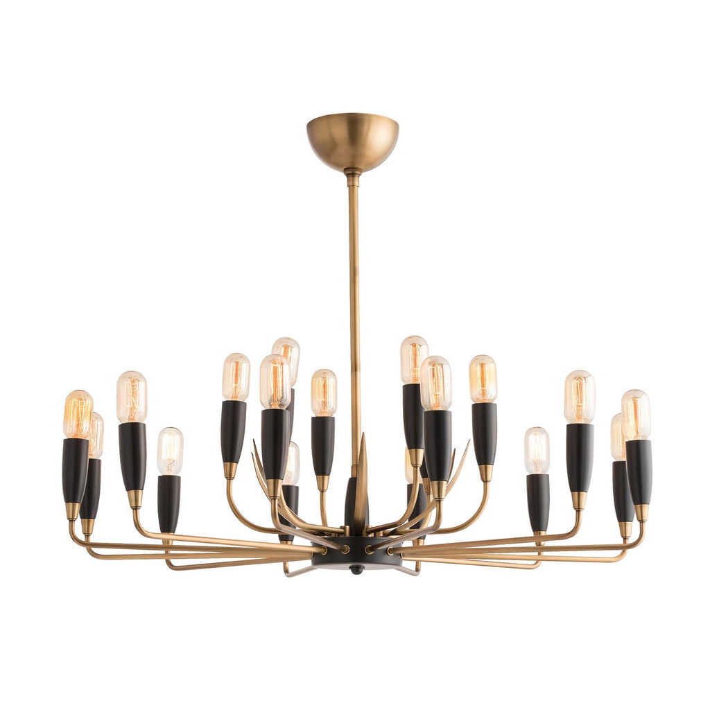 The interplay between bronze and antique brass is a favorite this season. Not for the faint of heart, the Hardy boasts a spider-like frame that is accented with curved spears. This 18-light stunner would look great in a room filled with collected art work and other relics. Shown with a Radio bulb. Approved for use in covered outdoor areas. Finish may vary.