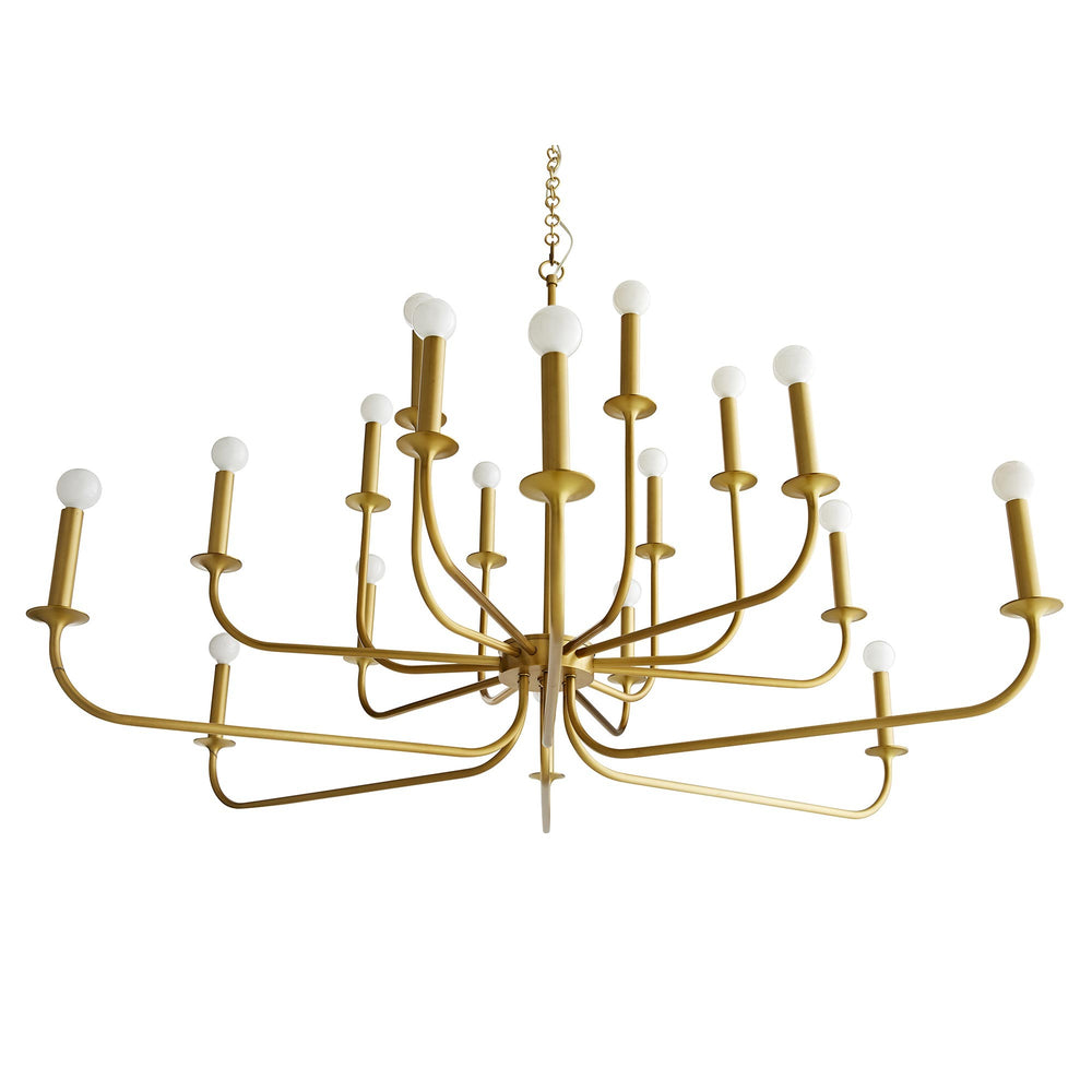 This grand chandelier features steel arms that curve upwards, reaching from a center point at two different heights to create a double tier effect. The entire structure is finished in an antique brass tone and is constructed with a seamless design. It's a modern take on a centuries-old classic. It holds 18 exposed bulbs for maximum light. Shown with small frosted globe bulbs.