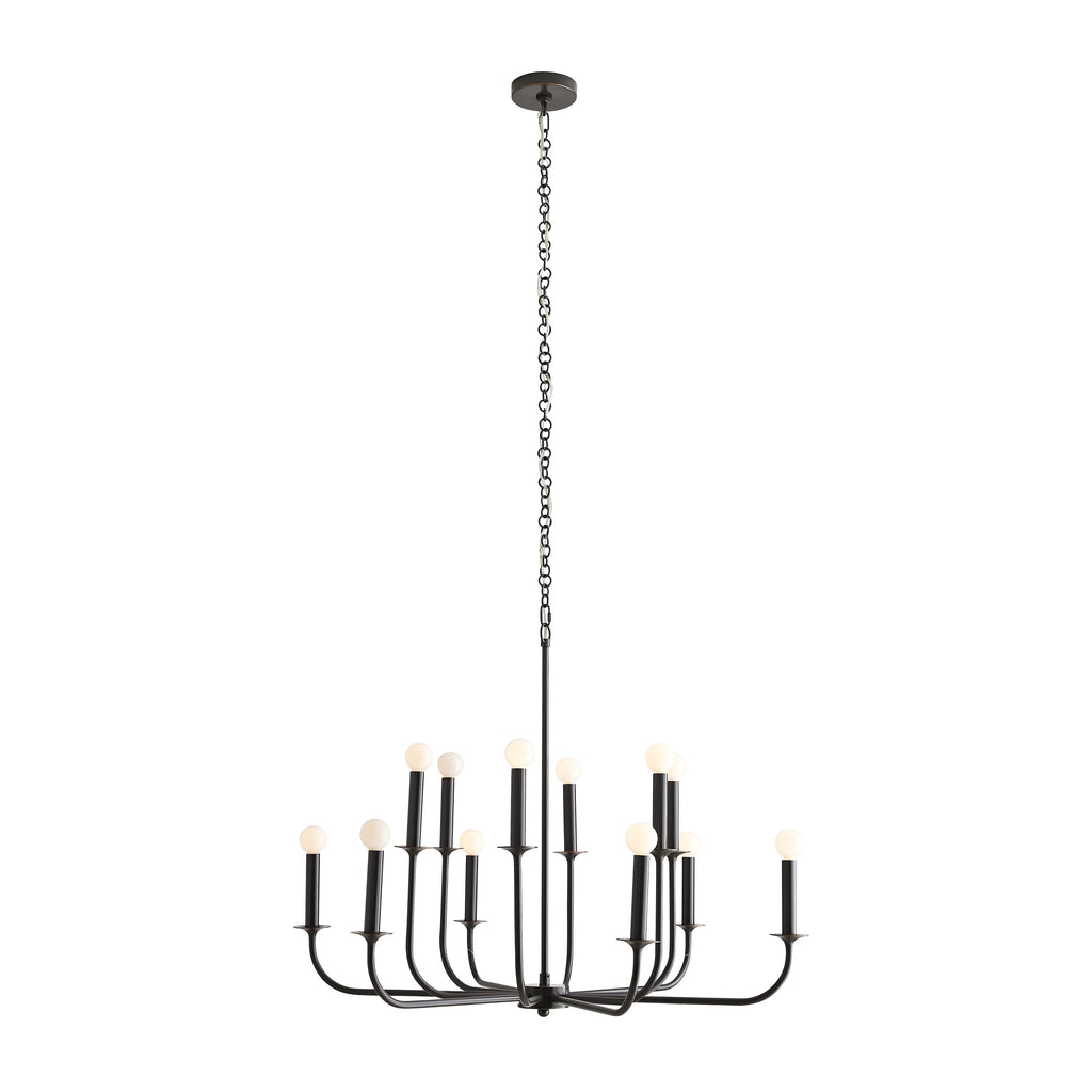 The Breck Small Black Chandelier features steel arms that curve upwards, reaching from a center point at two different heights to create a double tier effect. The entire structure is finished in a black and bronze finish and is constructed with a seamless design. It holds twelve exposed bulbs for maximum light. Finish may vary. Approved for use in damp locations, although some covered outdoor conditions may affect finish. This chandelier takes 12 B10 40W bulbs, with a Type B socket.