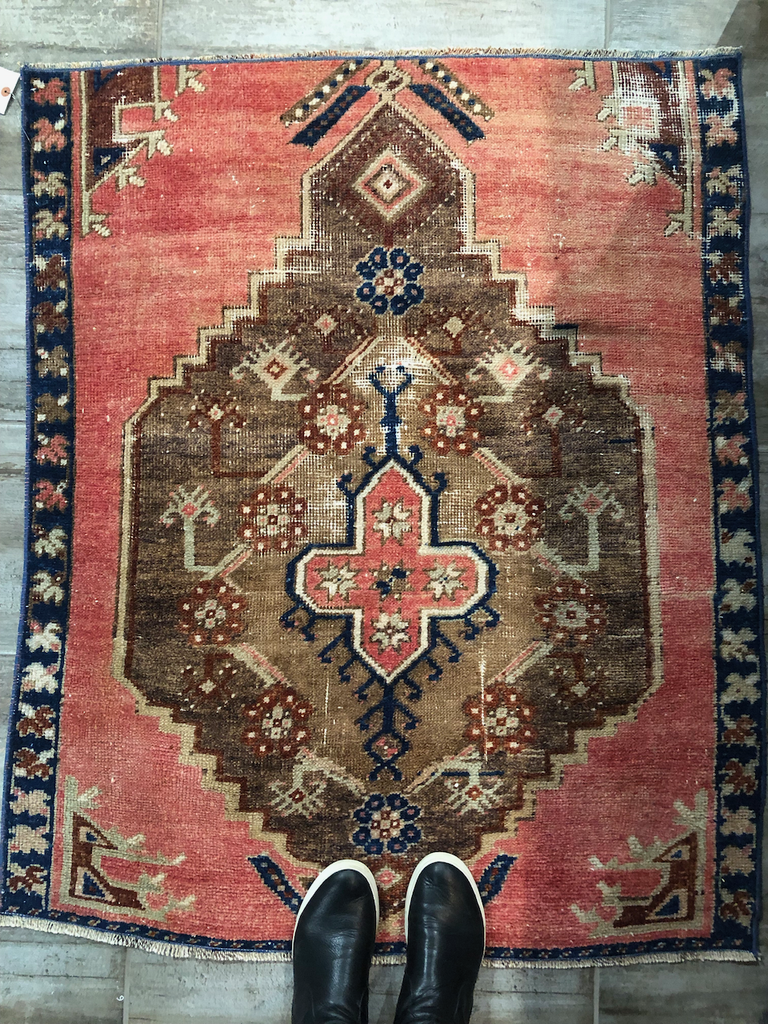 "Vintage Turkish Rug - 3'3"" x 4'1"""