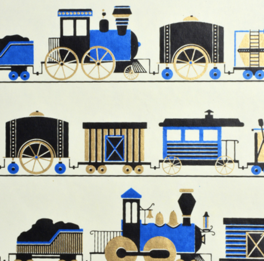 Handmade Trains Recycled Cotton Gift Wrap - Amethyst Home