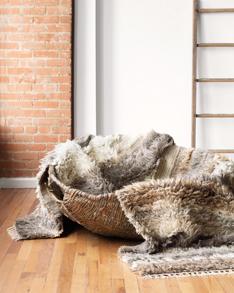 The Abbot Collection is a surprising and modern twist with variations of high pile shag and low pile, woven construction. Each design is 100% wool and hand-woven by skilled artisans in India. Crafted by Loloi for ED Ellen DeGeneres.  Hand Woven 100% Wool India ABB-03 ED Natural/Multi