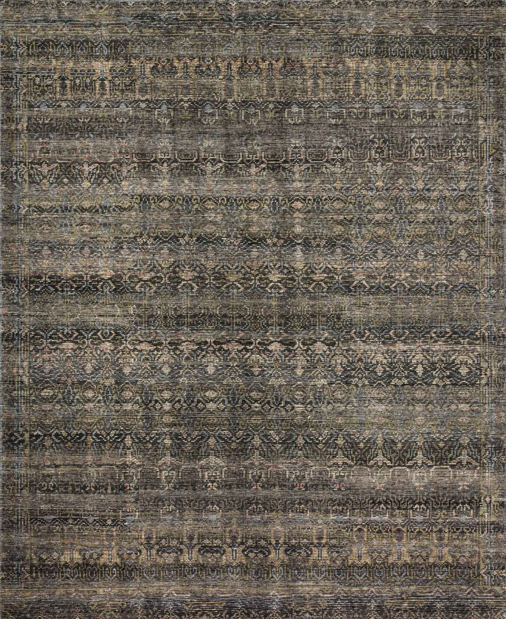 Hand-knotted in India of 100% wool, the Amara Collection creates a casual yet refined vibe with high-end appeal.  Hand Knotted 100% Wool India AMM-03 Charcoal/Lagoon