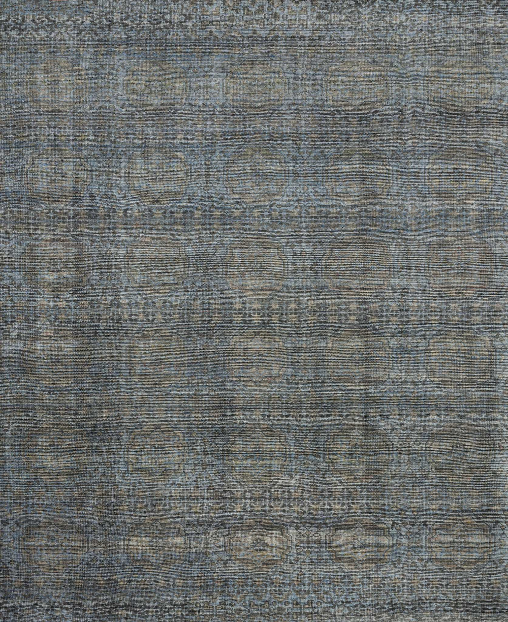 Hand-knotted in India of 100% wool, the Amara Collection creates a casual yet refined vibe with high-end appeal.  Hand Knotted 100% Wool India AMM-05 Blue/Gold