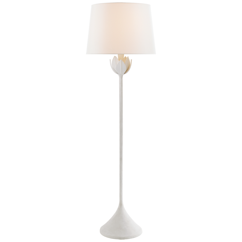 We love the dimmer feature of this Alberto Large Floor Lamp. The flower detail found at the top of the lamp adds an elegant, yet fun vibe to any living room, office, or other area needing extra light  Designer: Julie Neill