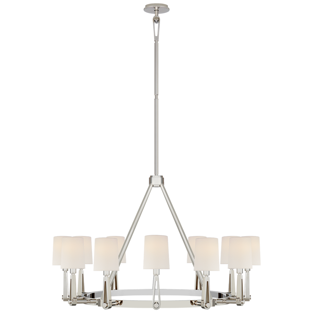 We love the four arms that attach to the circular base of the Alpha Grande Chandelier by Visual Comfort. This is a stunning piece to add to your entryway, living room, or other large area  Designer: Thomas O'Brien