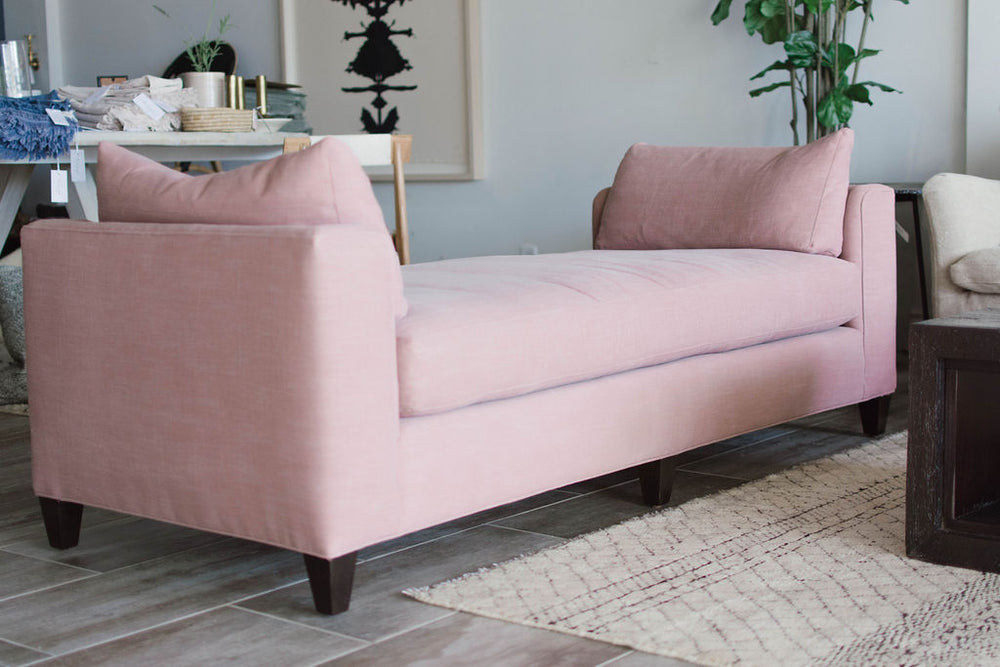 "Ultra comfortable and chic in pink! This daybed is the perfect size at the end of a bed, fits nicely in a seating arrangement, or would be a cheerful greeting in a foyer!   Available in: 72""w x 23""h x 30""d Seat Space: 51""w x 30""d x 20""h  Please allow 8-12 weeks as this piece is made just for you in Los Angeles, California!"