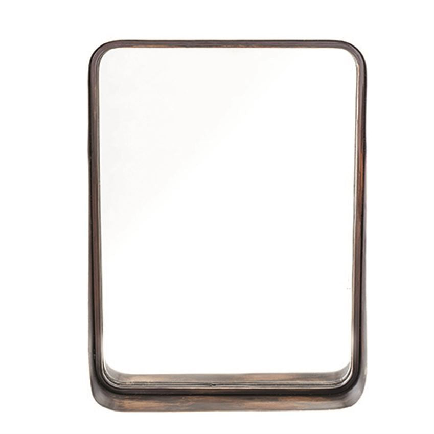 "The Antique Copper Framed Wall Mirror has a shelf, making it the perfect mirror to feel fabulous while doing your make up or set your favorite succulent on.   Size: 18""l x 4.25""w x 24.5""h"