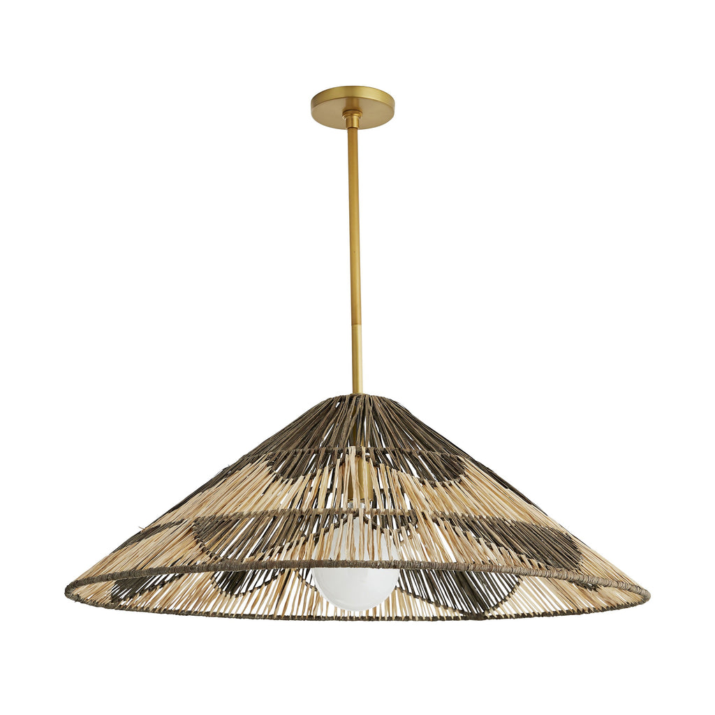 "Crafted from natural raffia and stained in a gorgeous, charcoal finish, we love the organic texture of this Fernanda Pendant! Hang over your dining table or kitchen island and bring the space a boho feel.   Overall size: 15""h x 32.50""dia"