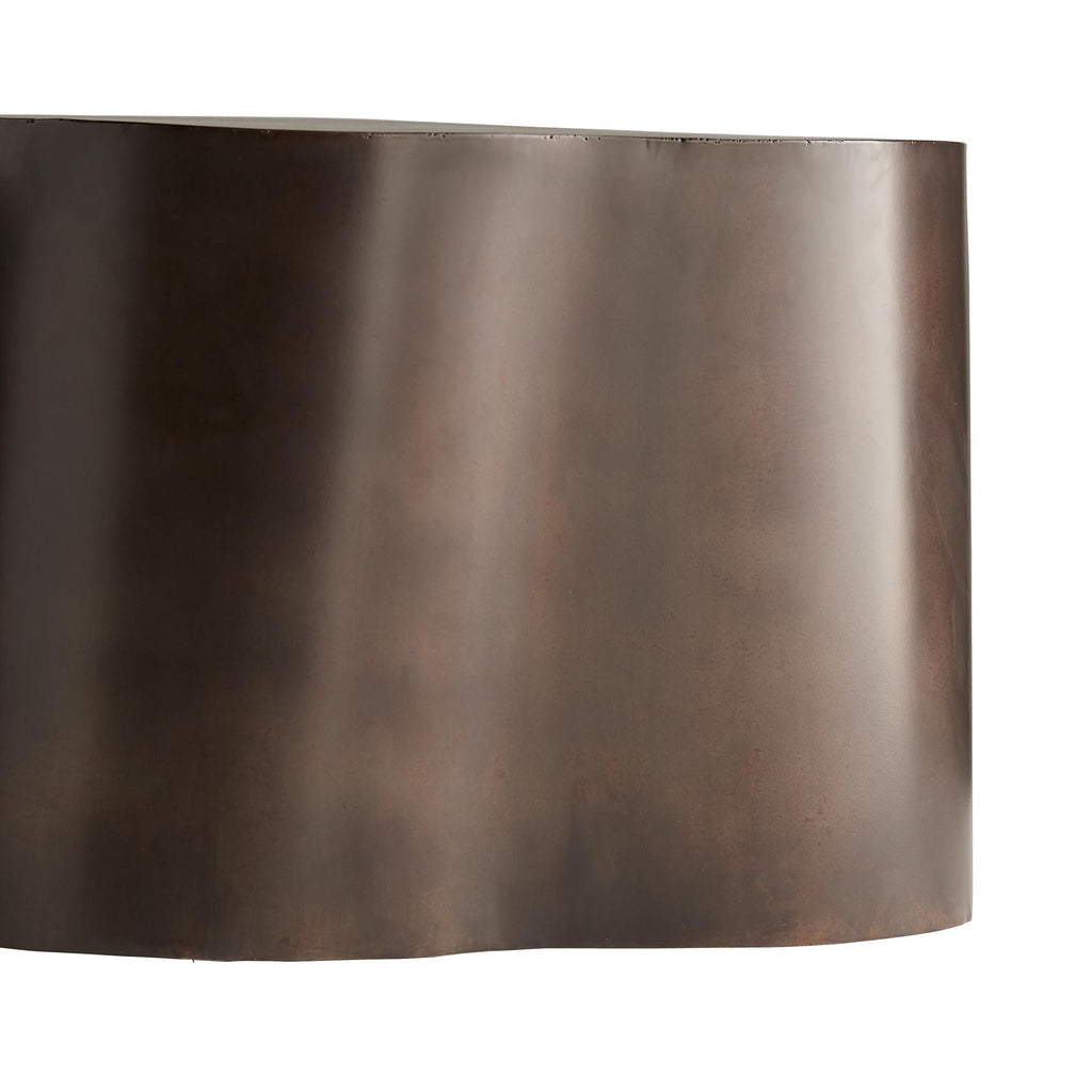 "We love the organic shape of this Meadow Cocktail Table. Finished in a rich bronze, this cocktail table brings a level of sophistication to any living room or lounge area!  Overall size: 36""w x 24""d x 14""h  Material: Iron, Plated Finish: Bronze"