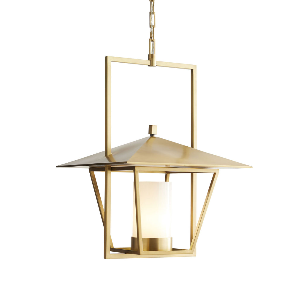 "The union of the antique with the modern is an exciting concept for designer Ray Booth. The Temple Pendant displays an Asian-inspired lantern hung from a modern steel trapeze. This pendant stands elegantly alone orpaired sequentially down a corridor.   Dimensions: 31""h x 19""w x 19"" d"