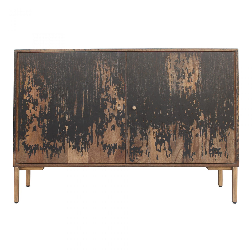 "The rustic look to this Artists Small Sideboard is extremely versatile, fitting both the industrial and farmhouse aesthetics. The golden knobs open to shelves, perfect for those families needing extra storage.   Size: 48""W x 16""D x 33.5""H Material: Solid Mango, Iron Legs"