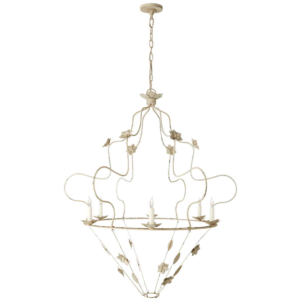 "We love the abstract appeal of this Arundel Grande Ornate Chandelier by Visual Comfort. Featuring hand-crafted flowers, this is sure to be a ""head turner"" in any entry way, living room, or other area needing some playful light  Designer: Niermann Weeks"