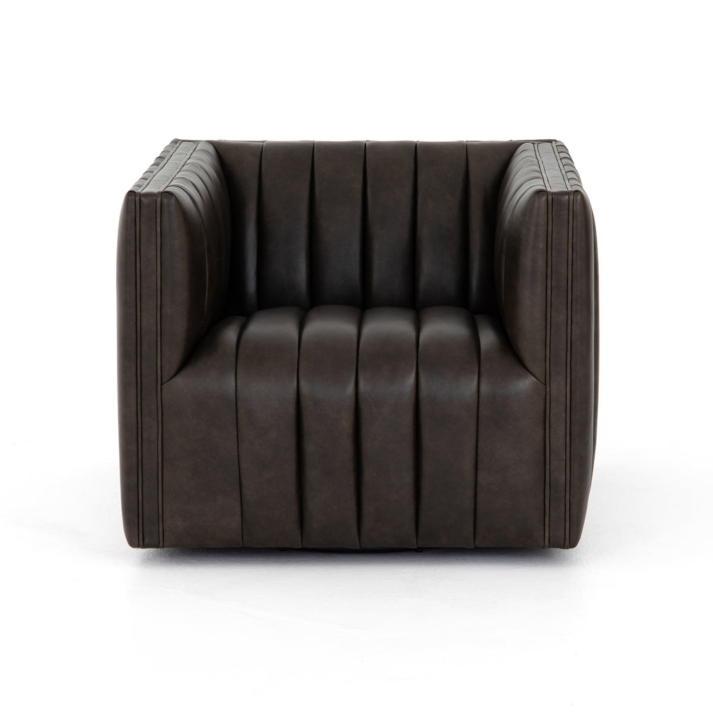 You will love the dramatic channeling and deep brown hue of this Augustine Deacon Wolf Swivel Chair. The swivel feature sets this apart from other chairs and is a great choice for any living room or media room. This chair is comfort wrapped in soft leather making this everyone's favorite chair.